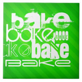 Bake; Neon Green Stripes Large Square Tile