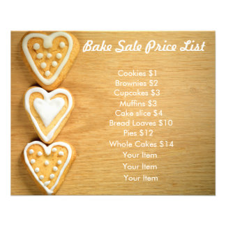 Bake Sale Price List Wood Background Heart Cookies 11.5 Cm X 14 Cm Flyer