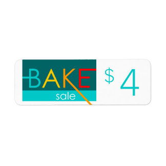 bake sale typographic price tags return address label