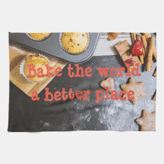 Bake the world a better place tea towel