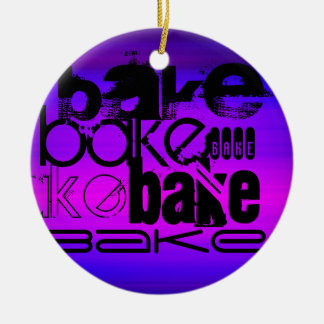 Bake; Vibrant Violet Blue and Magenta Christmas Ornament