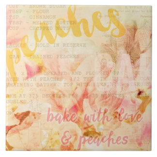 Bake with love and peaches collage large square tile