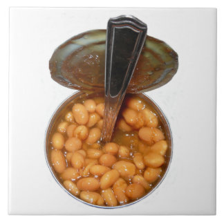 Baked Beans in Tin Can with Spoon Large Square Tile