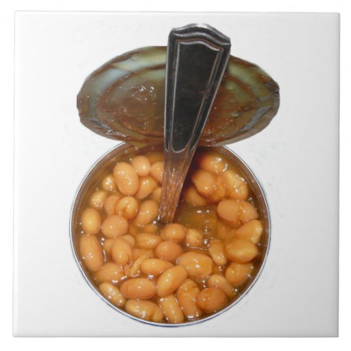 Baked Beans in Tin Can with Spoon Tiles