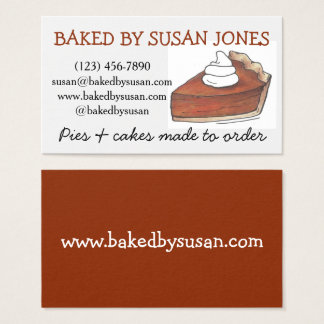 Baked By Bakery Pumpkin Pie Slice Pastry Chef Food Business Card