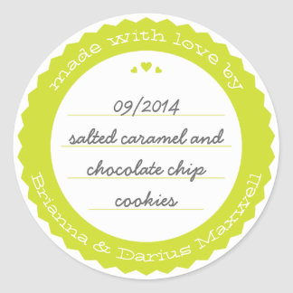 Baked Goods Round Gift Label Sticker Circle Citron