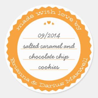 Baked Goods Round Gift Label Sticker Circle Orange
