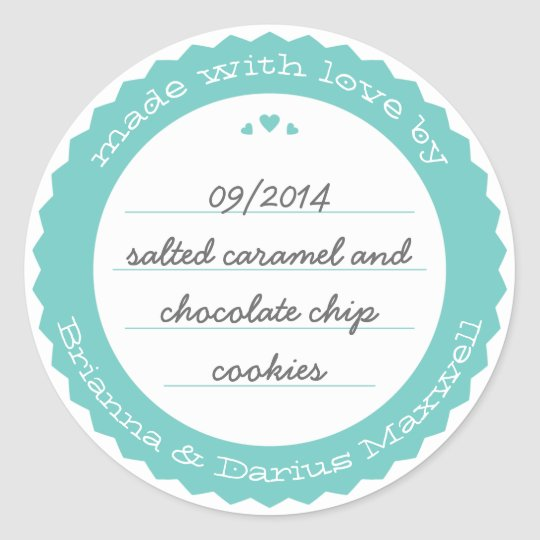 Baked Goods Round Gift Label Sticker Circle Teal