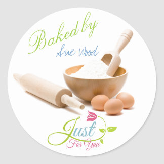 Baked Just for You Gift Labels from Your Kitchen Round Sticker