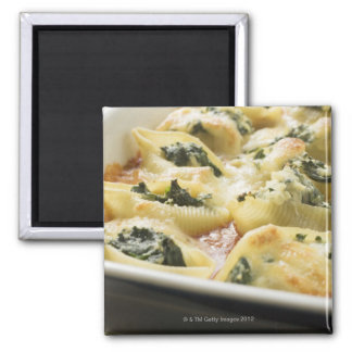 Baked pasta shells with spinach filling magnet
