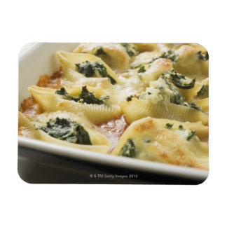 Baked pasta shells with spinach filling rectangular photo magnet