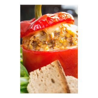 Baked stuffed peppers with meat sauce and cheese personalised stationery