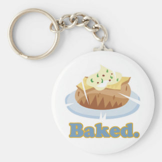 BAKED text baked potato Basic Round Button Key Ring
