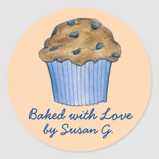 Baked w/ Love Customised Blueberry Muffin Stickers
