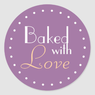 Baked With Love Decorative Circle Round Sticker