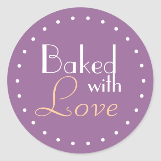 Baked With Love Decorative Circle Stickers