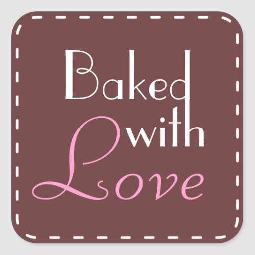 Baked With Love Decorative Circle Square Sticker