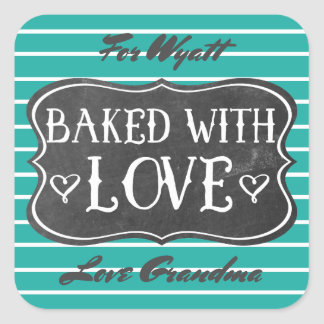 Baked With Love Vintage Chalkboard Retro Green Square Sticker
