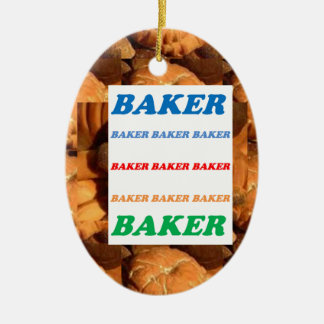 BAKER Biscuits Cookies Cake Pastry Icecream FUN JO Double-Sided Oval Ceramic Christmas Ornament