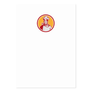 Baker Chef Cook Bust Front Circle Retro Business Cards