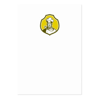 Baker Chef Cook Bust Front Shield Retro Business Cards