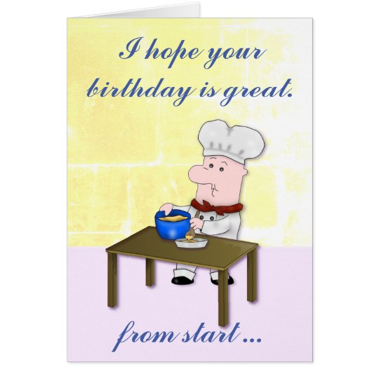 Baker Chef, Mixing a Cake, Birthday Card