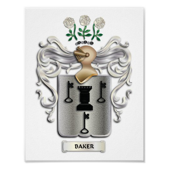 Baker Coat of Arms Print on Heavy Matte Paper