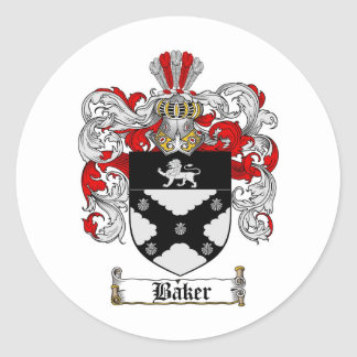 BAKER FAMILY CREST -  BAKER COAT OF ARMS CLASSIC ROUND STICKER