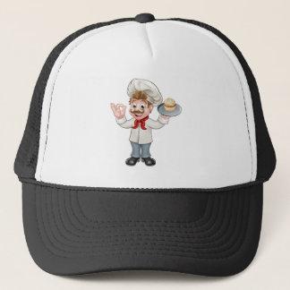 Baker Holding Cake Cartoon Mascot Cap
