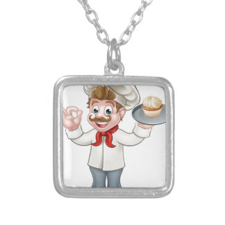 Baker Holding Cake Cartoon Mascot Silver Plated Necklace