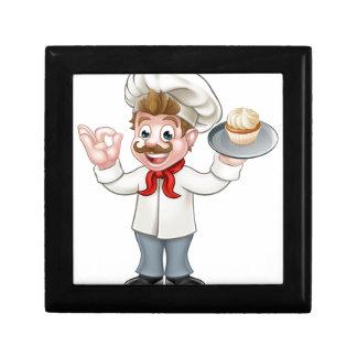 Baker Holding Cake Cartoon Mascot Small Square Gift Box