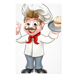 Baker Holding Cake Cartoon Mascot Stationery