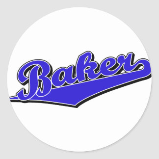 Baker in Blue Round Sticker