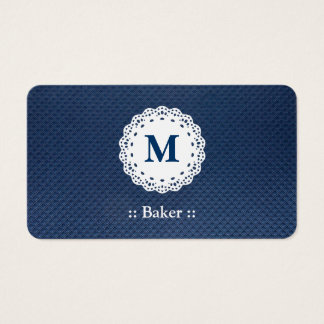 Baker Lace Monogram Blue Pattern Business Card