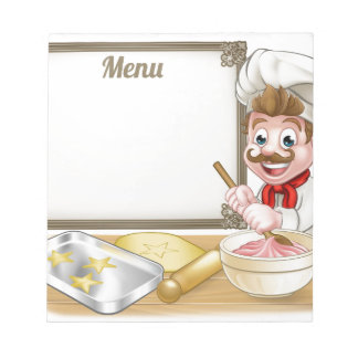 Baker or Pastry Chef Menu Sign Notepad