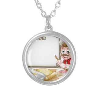 Baker or Pastry Chef Menu Sign Silver Plated Necklace