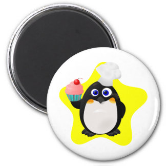Baker Penguin with Cupcake 6 Cm Round Magnet