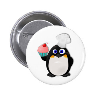 Baker Penguin with Cupcake II 6 Cm Round Badge