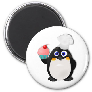 Baker Penguin with Cupcake II 6 Cm Round Magnet