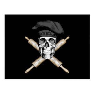 Baker Skull and Rolling Pins: Black Postcard