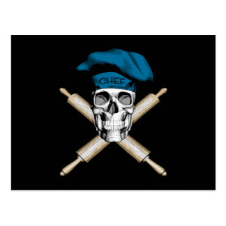 Baker Skull and Rolling Pins: Blue Postcard