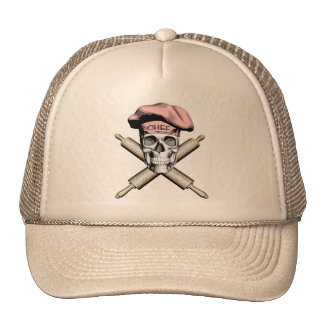 Baker Skull and Rolling Pins: Pink Cap