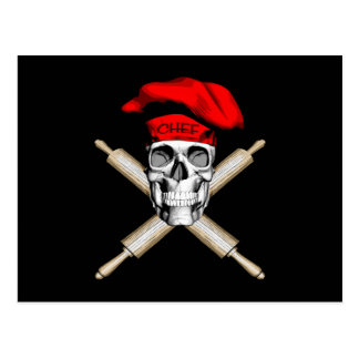 Baker Skull and Rolling Pins: Red Postcard