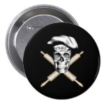 Baker Skull and Rolling Pins: White 7.5 Cm Round Badge