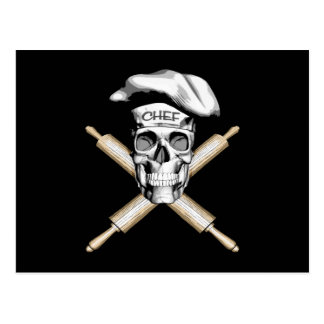 Baker Skull and Rolling Pins: White Postcard