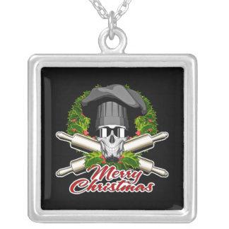Baker Skull: Merry Christmas V2 Square Pendant Necklace