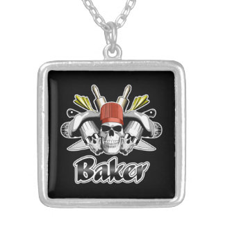 Baker Skull: Tools of the Trade Square Pendant Necklace