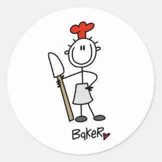 Baker with Scraper Round Sticker