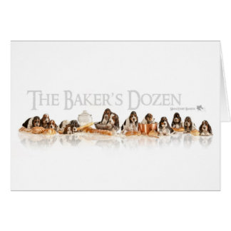 Bakers Dozen Basset Hound Puppies Greeting Card