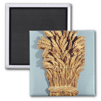 Baker's sign with ears of wheat and flowers square magnet